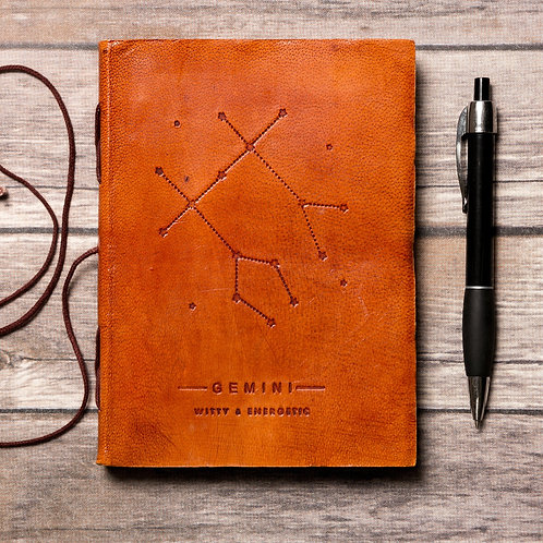 Gemini Zodiac Handmade Leather Journal