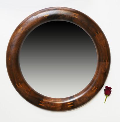 Sarah Alicia Round Walnut Mirror