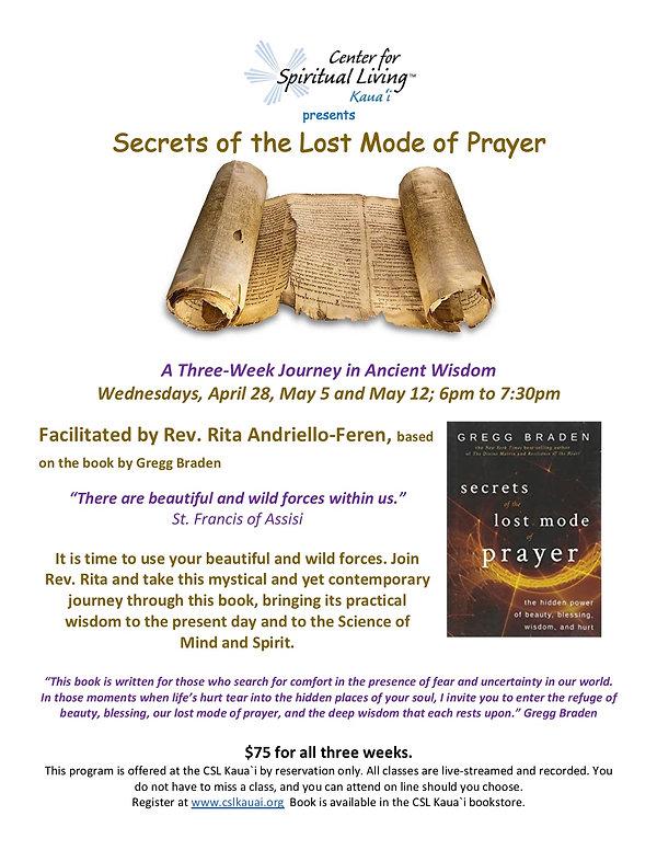 Secrets of the Lost Mode of Prayer flyer