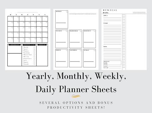 Daily, Weekly, Monthly, Yearly Planner Printable Inserts + Bonus Productivity