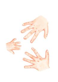 Three children's hands