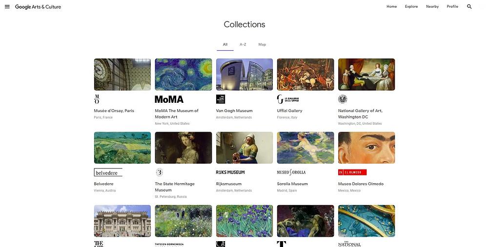 Google Arts and Culture e sua extensa gama de instituições disponíveis para visitação virtual. Fonte: Google Arts and Culture.