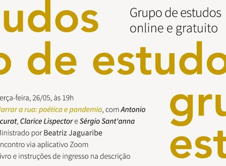 Grupo de estudos #8: narrar a rua — poética e pandemia com Beatriz Jaguaribe