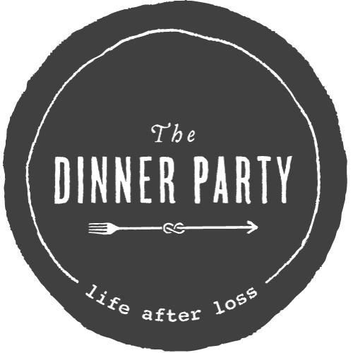 """black circle with a thin white circle inside and the words """"The Dinner Party life after loss"""" above a horizontal fork whose handle knots into an infinity sign that leads to an arrow pointing left (forward)"""