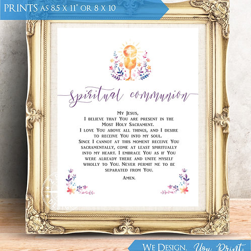 [DIGITAL DOWNLOAD] PRINTABLE Watercolor Spiritual Communion Prayer | Eucharist