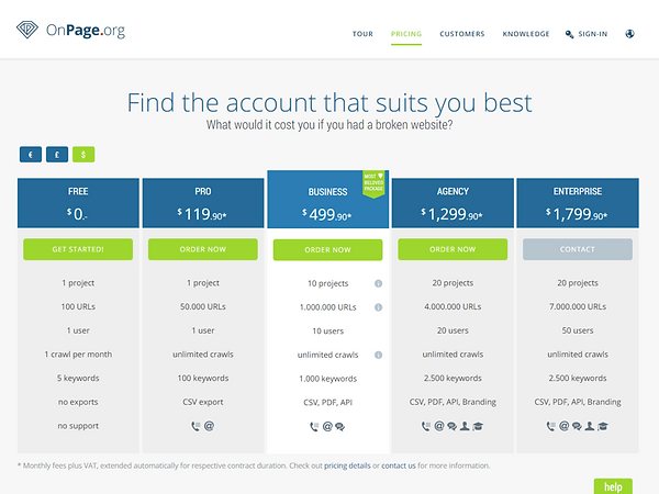 OnPage Pricing