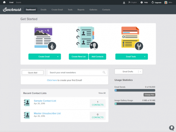 Benchmark Email Dashboard