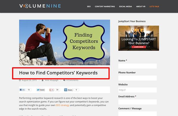Find Competitors Keywords
