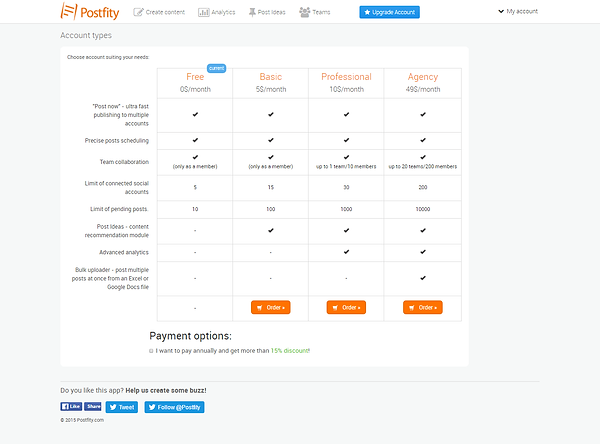 Postfity Pricing