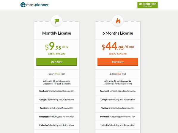 Mass Planner Pricing
