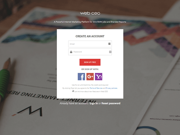 Web CEO Register