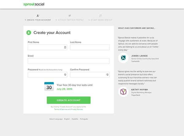 SproutSocial Signup