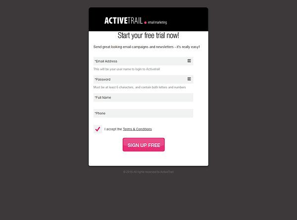 ActiveTrail Signup
