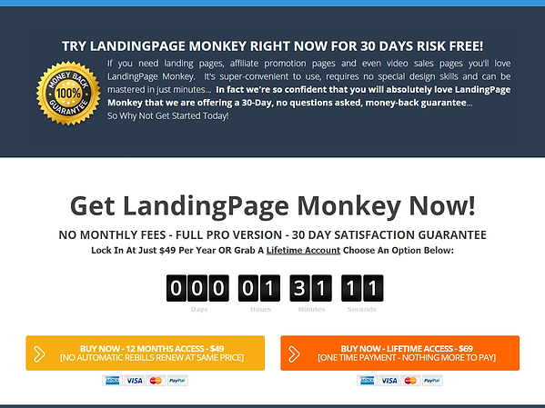 Landing Page Monkey Pricing