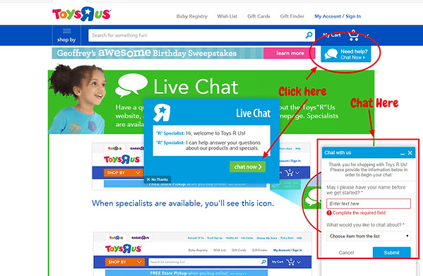 Toys R Us Livechat