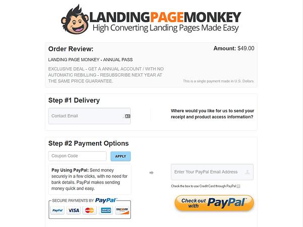 Landing Page Monkey Signup