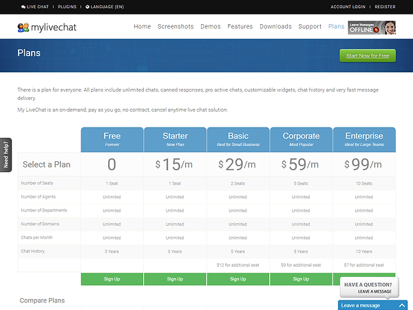 MyLiveChat Pricing