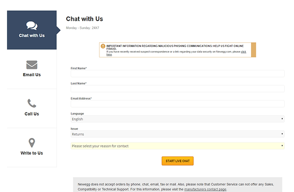 NewEgg Webchat