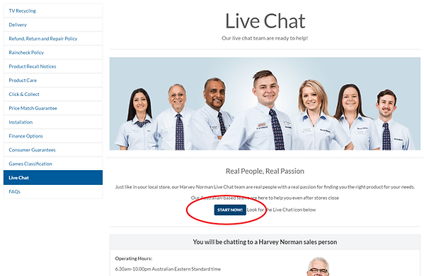 Harvey Norman Live Chat Service
