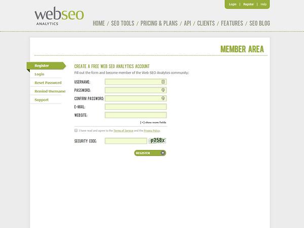 WebSEOAnalytics Register