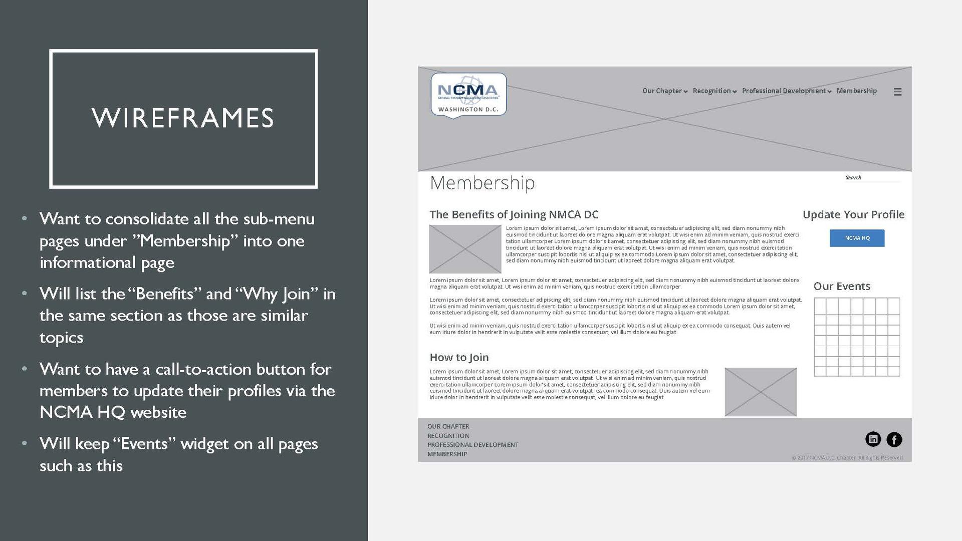 NCMA Proposed Wireframe