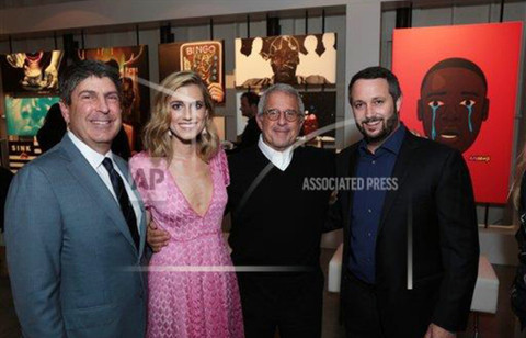 Jeff Shell (Universal Pictures Team), Allison Williams (Rose), Ron Meyer (NBCUniversal Team), and Sean Mckittrick (Get Out Producer) standing in front of my piece.
