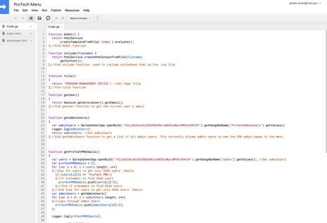 Google Apps Script for Internal Menu