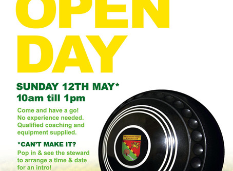Open Day Sunday12th May 2019 10am till 12 noon