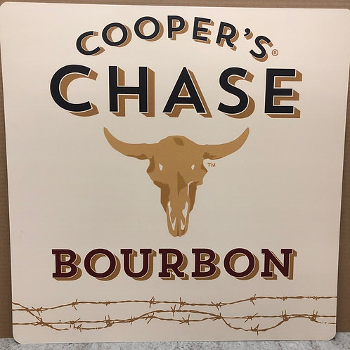 White Cooper's Chase Bourbon Bar Sign