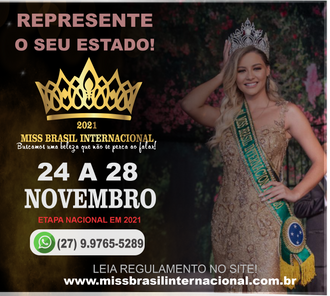 O Concurso Miss Brasil Internacional será realizado em novembro de 2021