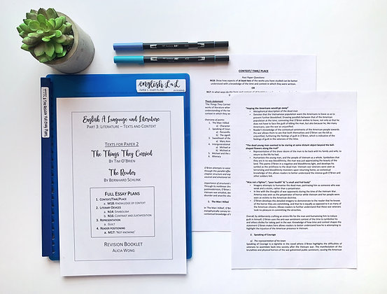 FULL Essay Plans - PAPER 2 SURVIVAL GUIDE (The Things They Carried + The Reader)