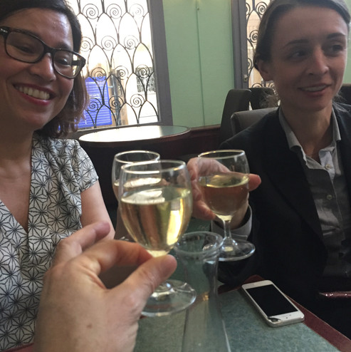 A TOAST TO A GOOD PRESENTATION WITH PAOLA BERSI AND MANIRMA VRIES IN LAUSANNE