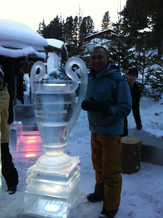 RUUD GULLIT DOES ICE SCULPTURING FOR THE HEINEKEN CHAMPIONS LEAGUE CAMPAIGN SHOOT IN SWITZERLAND