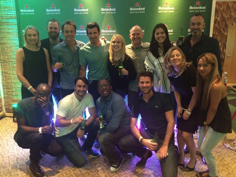 THE HEINEKEN CHAMPIONS LEAGUE CAMPAIGN TEAM AFTER THE SHOOT IN JOBURG, WITH LUIS FIGO