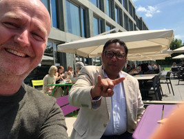 TAKING A BREAK WITH KEDAR KARI[[AIL AT PHILIP MORRIS IN LAUSANNE