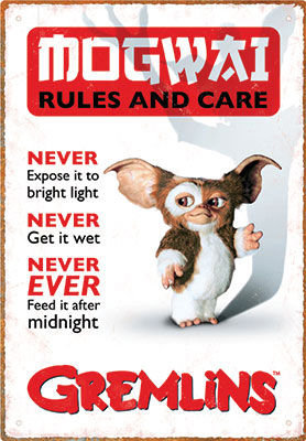 GREMLINS RULES TIN SIGN