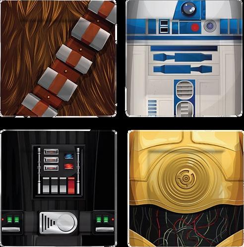 SET 4 Piatti STAR WARS CHEWBACCA/ R2-D2/ C-3PO/DARTH VADER
