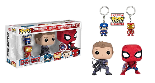 FUNKO POP! MARVEL - CIVIL WAR FIGURES KEYCHAIN 4-PACK BOBBLE HEAD KNOCKER FUNKO