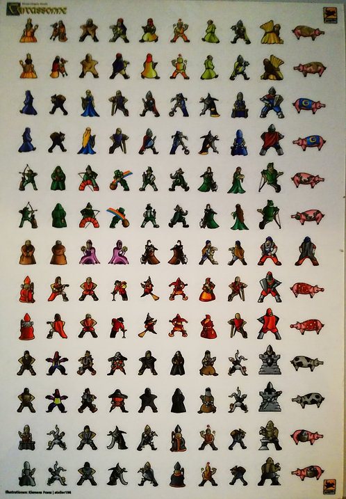 Carcassonne STICKERS per MEEPLE