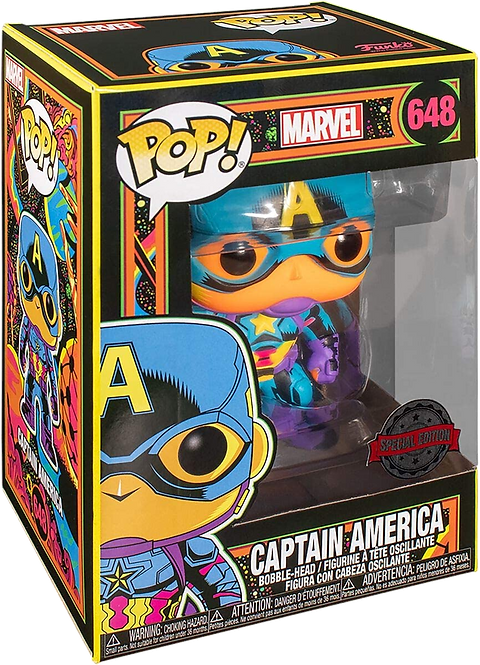Funko POP! Marvel Black Light Captain America Vinyl Figure 10cm