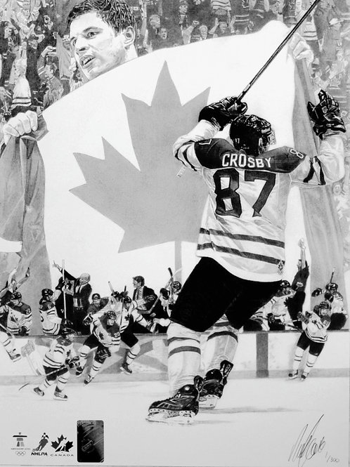 "SPORTS PRINT | Sidney Crosby Golden Goal | 10 3/4"" x 14"""