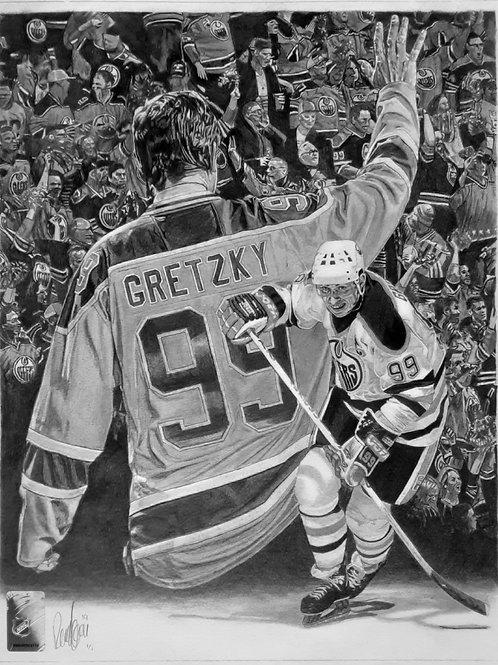 "ORIGINAL ART   Wayne Gretzky Oilers   10 3/4"" x 14"""