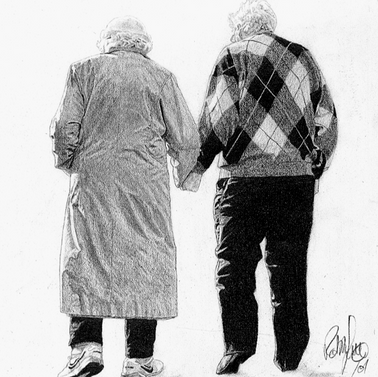 Elderly couple art. Artwork by Robb Scot