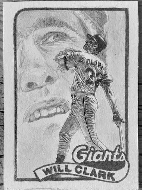 ORIGINAL ART   Baseball card } WIll Clark