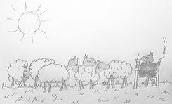 Pencil sketch. Sketching and color art_