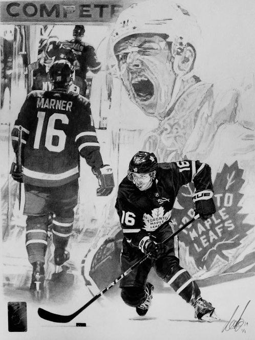 "ORIGINAL ART | Mitch Marner Maple Leafs | 11"" x 14"""