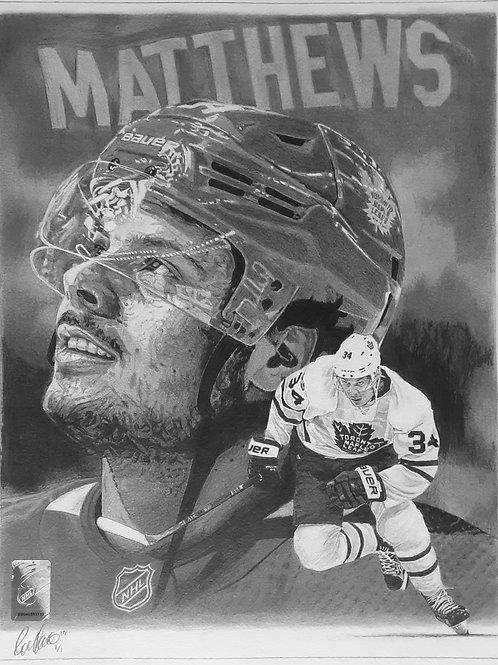 "ORIGINAL ART | Auston Matthews Maple Leafs  | 10 3/4"" x 14"""