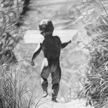 Little boy at the beach. Art by Robb Sco