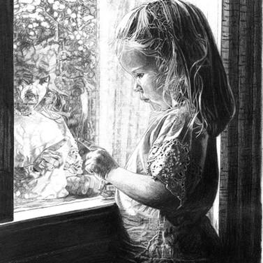 Little girl art. Drawing by Robb Scott.