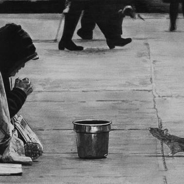 Homeless man and a rat. Artwork by Robb